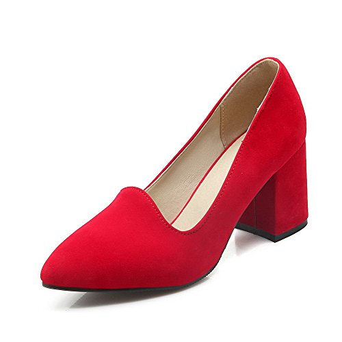 AmoonyFashion Women's Frosted Pointed Closed Toe High-Heels Pull-on