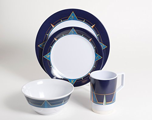 Galleyware Blue Compass 24 Piece Melamine Non-Skid Dinnerware Set (Non Skid Dinnerware)