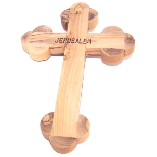 Thick grade A Olive wood 14 Stations Crucifix with Holy Land Samples and Mother of Pearls decoration (18 cm or 7 inches) by Holy Land Market (Image #1)