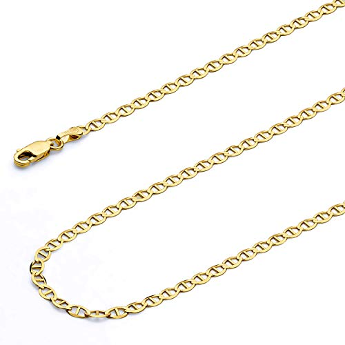 Wellingsale 14k Yellow Gold SOLID 3mm Polished Flat Mariner Chain Necklace - 20