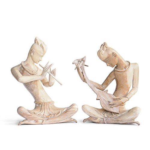 Thai Musician Statue, Wooden Handmade Figurine from Thailand. Asian Contemporary Home Decoration. by Siam Sawadee