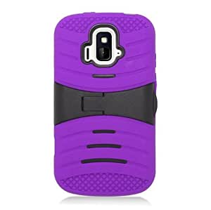CYstore RUGGED Dual Layer Armor Cover Case With Kick Stand For ZTE Radiant / Z740 (Include a CYstore Stylus Pen) - Black/Purple