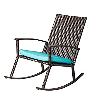 Kinbor PE Wicker Rocking Chair Outdoor Patio Porch Garden Chairs Rattan w/Cushion, Blue - ♥Made of PE rattan wicker, steel frame ♥Thick cushions and armrests increase the comfort. ♥Constructed of solid steel, stable and durable. - patio-furniture, patio-chairs, patio - 41Jjc4 GtGL. SS400  -