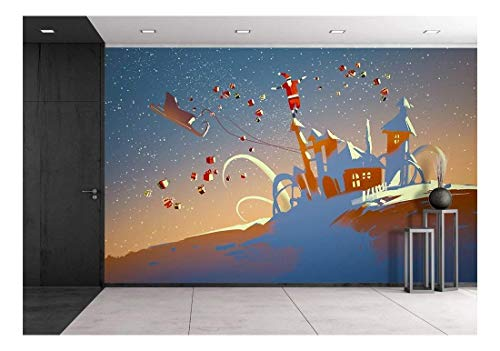 (wall26 - Illustration - Santa Claus Balancing on Fantasy Houses,Illustration - Removable Wall Mural | Self-Adhesive Large Wallpaper - 100x144 inches)