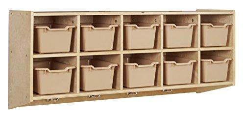 ECR4Kids 10-Cubbie Birch Hardwood Wall Mount Hanging Coat Locker with Sand Bins