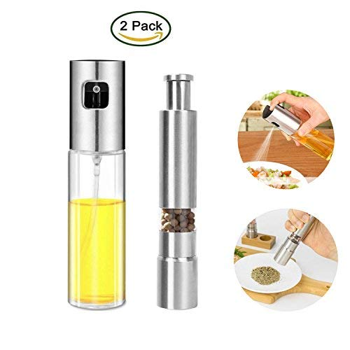 Oil Sprayer Salt and Pepper Mill Dispenser Olive Oil Salt and Pepper Grinder Stainless Steel & Glass Bottle Portable BBQ, Bread Baking, Grilling, Kitchen Cooking