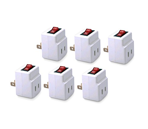Single Port Power Adapter for outlet with On/Off Switch energy saving - 6 Pack ZapMan (Ac Switched Outlet)