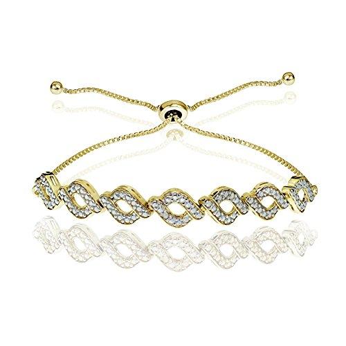 Glitzs Jewels Yellow Gold Flash Silver Simulated Diamond Accent Wave Braid Adjustable Bolo - Diamond Accent Braid