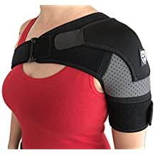 Shoulder Brace Support by Strong AID. for Rotator Cuff Pain AC Joint Dislocated Frozen Tear Injury Adjustable Compression Stability Sleeve (Gray, S-M)