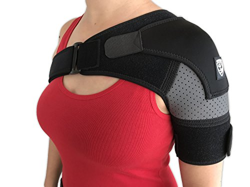 Strong AID - Shoulder Brace Rotator Cuff and Dislocation Adjustable Support for Men and Women (Gray)