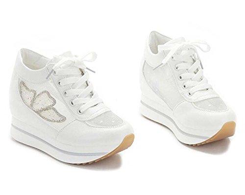 Zapatos de mujer dentro del aumento de los zapatos de las mujeres Los estudiantes muffins grueso parte inferior transpirable malla deportes casual mujeres blanco