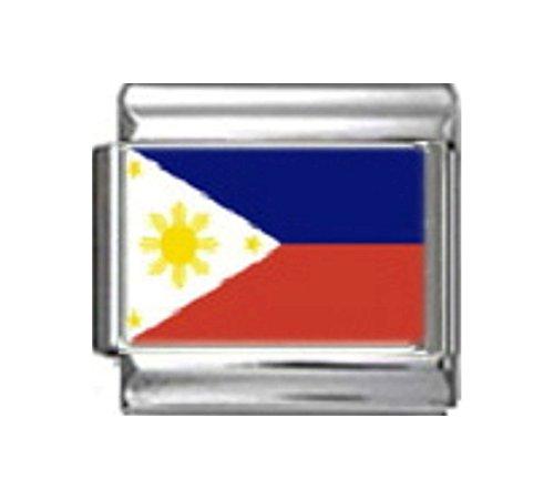 PHILIPPINES FILIPINOS FLAG Photo Italian Charm 9mm - 1 x PC140 Single Bracelet - Italian Charm Traditional