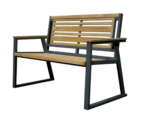 Asta Furniture M2-11A/Blk Asta California Room Teak and Iron 2-Seater Bench - Classic (Black) (Teak Plantation Frame)