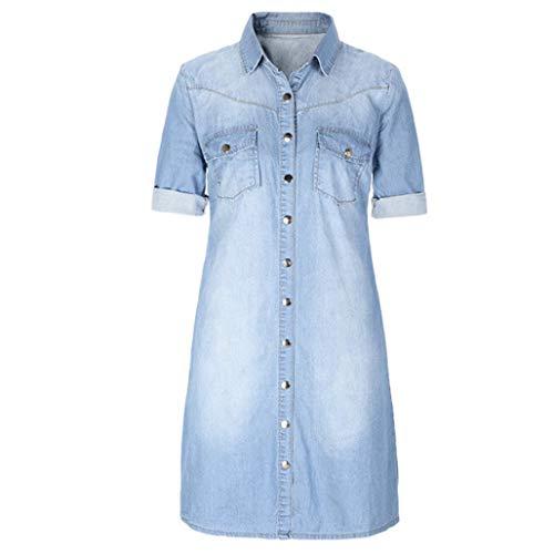 (DEATU Women Mini Dress, Women's Denim Buttons Loose Casual 3/4 Sleeve Dress(Light Blue,Size XS))