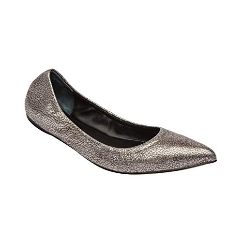 (Linea Paolo NICO | Women's Pointy Toe Elasticized Ballet Flat Anthracite Pebbled Leather 8M)