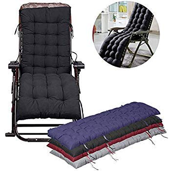 Thickened Lounge Chair Cushion,Chaise Lounge Cushion, Non-Slip Overstuffed Recliner Portable Durable Sun Lounger Mattress for Patio Garden Outdoor Indoor (Black)
