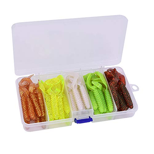 MAKEBASS 50pcs Paddle Tail Soft Baits Set Worm Curly Tail Grub Fishing Lures 5 Colors with Tackle Box for Bass Trout Walleye Salmon Freshwater Saltwater Fishing (50pcs/Twin Tail) ()