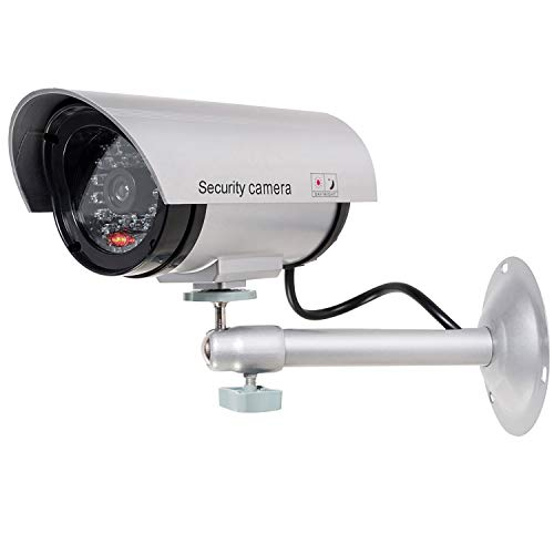 WALI Bullet Dummy Fake Surveillance Security CCTV Dome Camera Indoor Outdoor with 1 LED Light, Security Alert Sticker Decals (TC-S1), Silver