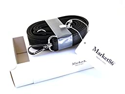 market86 Black 25mm Width Pu Leather Female Messenger Purse Replacement Straps Bag Accessories Shoulder Bag Straps Length 49.2 Inches (Silvery Clasps)