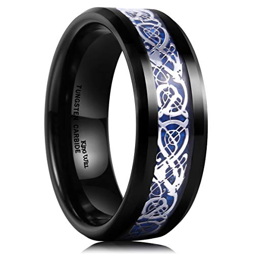 Black Carbon Fiber Watch Band - King Will Dragon Mens 8mm Black Tungsten Carbide Ring Blue Carbon Fiber Celtic Dragon Wedding Band 9