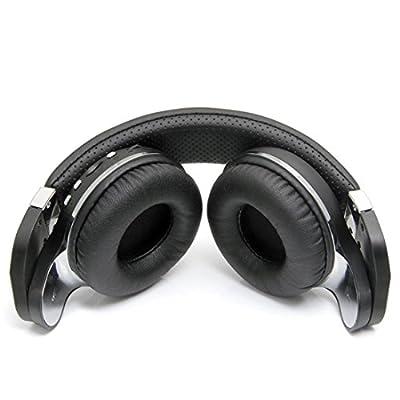 Urvoix Wireless Bluetooth Headphones, On-Ear Design Stereo Bass Swiveling Rotary Foldable Headset w/ Mic, FM Radio & Micro SD Card Slot, Black