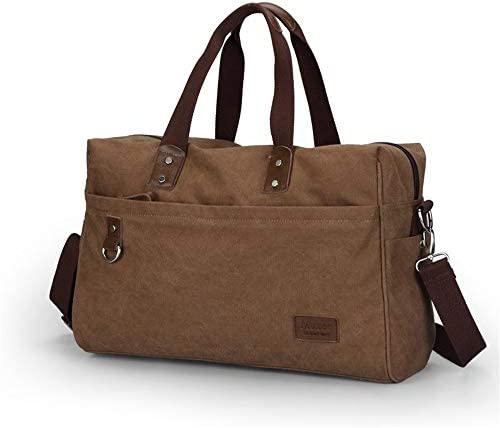紳士ハンドバッグ メンズファッションミニマルウィークエンドトラベルバッグトートバッグキャンバスショルダーバッグバッグ上で一晩バッグ荷物ジムスポーツショルダーバッグキャリー 便利で多用途 (色 : Khaki, Size : 44x19x32cm)
