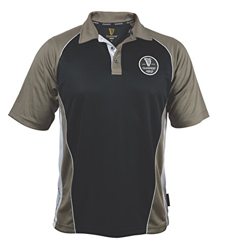 Guinness Brown Paneled Performance Golf Shirt with Official Guinness Harp Embroidery Logo (X-Large) (Irish Penny Harp)
