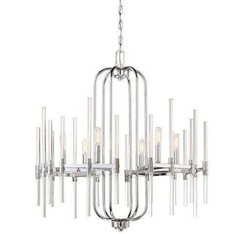 Price comparison product image Minka Lavery Chandelier Pendant Lighting 3097-77 Pillar Dining Room Fixture,  6-Light 360 Watts,  Chrome