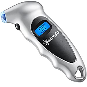 AstroAI Digital Tire Pressure Gauge 150 PSI 4 Settings for Car Truck Bicycle with Backlit LCD and Non-Slip Grip, Silver (1 Pack), for Fathers Day