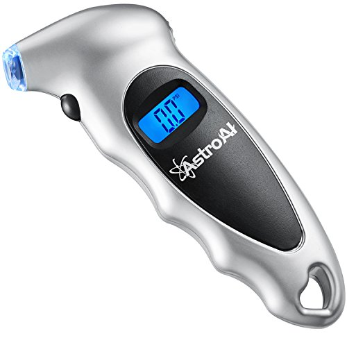 AstroAI Digital Tire Pressure Gauge 150 PSI 4 Settings Car Truck Bicycle Backlit LCD Non-Slip Grip, Silver (1 Pack) (Bike Tire Gauge)