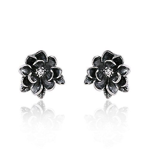 925 Sterling Silver Oxidized Magnolia Flower 12 mm Stud Earrings