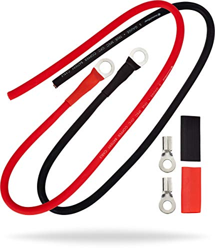 InstallGear 5 AWG Gauge 2ft Battery Power Inverter Cables for Solar, Auto, RV & Marine - 99.9% Oxygen-Free Copper (Set)