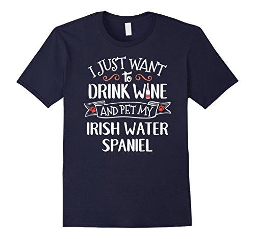 [Mens Irish Water Spaniel T-Shirt for Wine Lovers & Dog Owners Large Navy] (Navy Blue Irish Water)