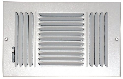 (Speedi-Grille SG-610 CW3 6-Inch by 10-Inch White Ceiling/Sidewall Vent Register with 3 Way Deflection)