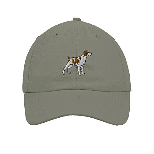 (Brittany Spaniel Dogs Pets Embroidery Twill Cotton 6 Panel Low Profile Hat Light Grey)