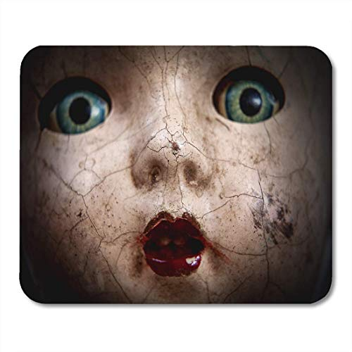 VANKINE Mouse Pads Horror Scary Cracked Old Doll Face Shallow Focus Antique Halloween Abuse Mouse pad 9.5
