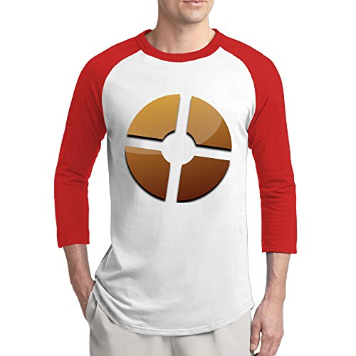 ReBorn Logo Fortress Men's 3/4 Sleeve Raglan Tshirt Red XXL (Fortress Scooters)