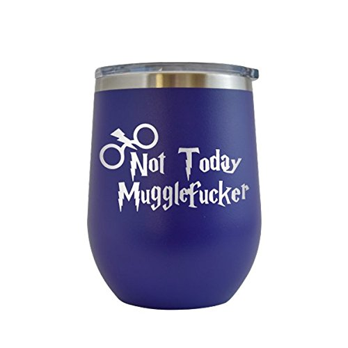 (Not Today Muggle Fucker Engraved 12 oz Wine Tumbler Cup Glass Etched - Funny Gifts Harry Potter for him for her (Purple - 12 oz))