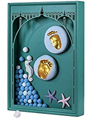 ZLSP Baby Handprint Footprint Safe and Non-Toxic Premium Clay Wood Frames New Born Birthday Presents Keepsakes,DarkGreen ZLSP (Color : DarkGreen)