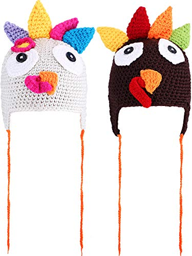 Tatuo 2 Pieces Thanksgiving Hats Turkey Knitted Hat Crochet Beanie Cap with Pigtail Braids for Baby Kids, 2 Colors]()