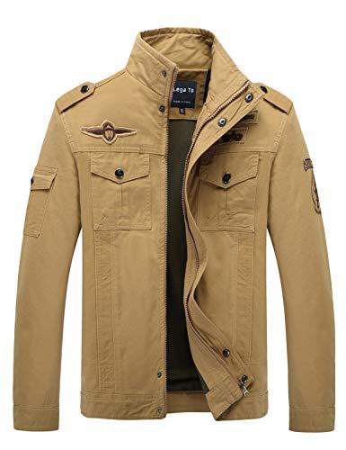 (Lega Men's Casual Cotton Coat Bomber Jacket Windbreaker Jacket, Khaki, US S)