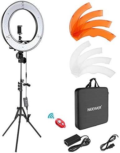 "Neewer Ring Light Kit:18""/48cm Outer 55W 5500K Dimmable LED Ring Light, Light Stand, Carrying Bag for Camera,Smartphone,YouTube,TikTok,Self-Portrait Shooting, Black, Model:10088612"