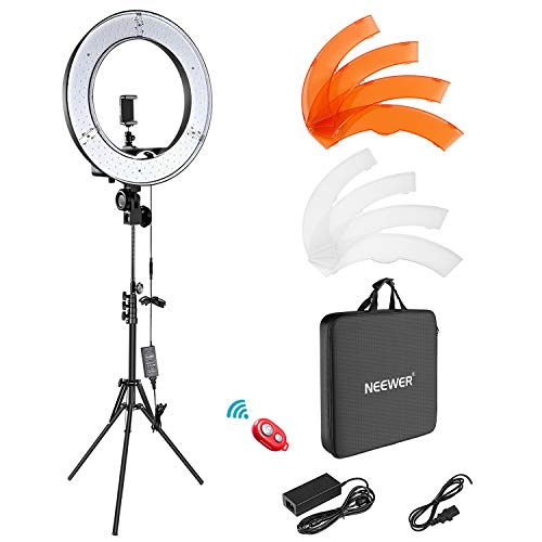 "Neewer Ring Light Kit:18""/48cm Outer 55W 5500K Dimmable LED Ring Light"