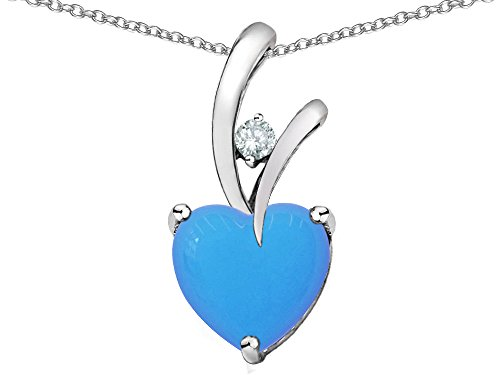 Star Slide Pendant (Star K Heart Shape 8mm Simulated Turquoise Endless Love Pendant Necklace Sterling Silver)