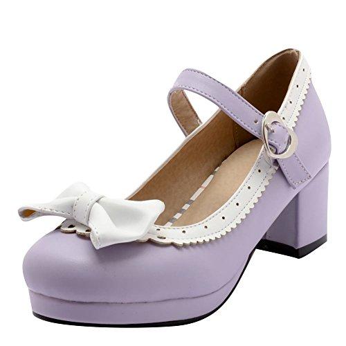 Escarpins Bloc Misssasa Violet Femmes Talons 60qvvwf5Ox