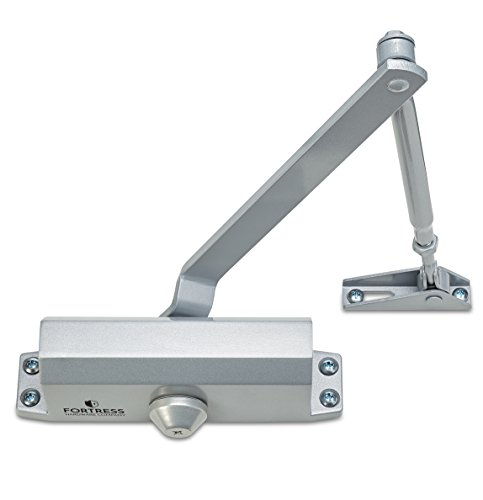 Door Closer FS-1306 Automatic Adjustable Closers Grade 3 Spring Hydraulic Auto Door-Closer with Easy Installation Life Size Fitting Template & Instructions Silver Aluminium