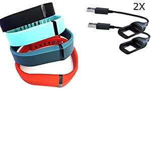 VTOP Set Large L 1pc Black 1pc Slate 1pc Red (Tangerine) 1pc Teal (Blue/Green) Replacement Bands with Clasps for Fitbit FLEX Only /No tracker/ Wireless Activity Bracelet Sport Wristband Fit Bit Flex Bracelet Sport Arm Band Armband