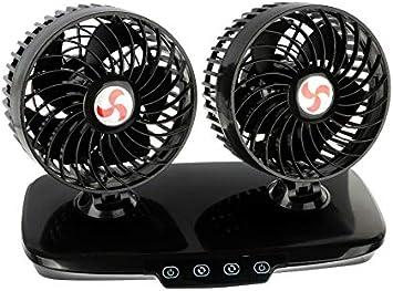 Doppelventilator Ventilator Dual LKW 24V 24 Volt mit Touchsensor Luxus 360/° verstellbar mit 3-fach Geschwindigkeitsverstellung und Leuchtanzeige