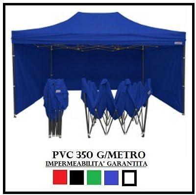 GAZEBO PLEGABLE 3 X 4, 5 AZUL 4 TOALLAS LATERALES PVC ACERO ...