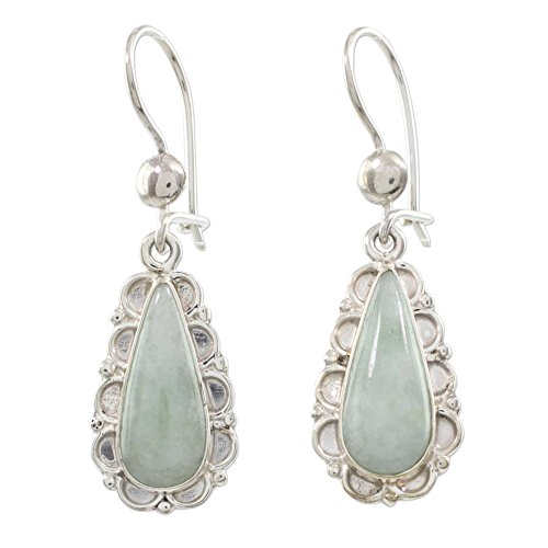 (NOVICA Jade and .925 Sterling Silver Flower Dangle Earrings, Blossoming Green Dew')